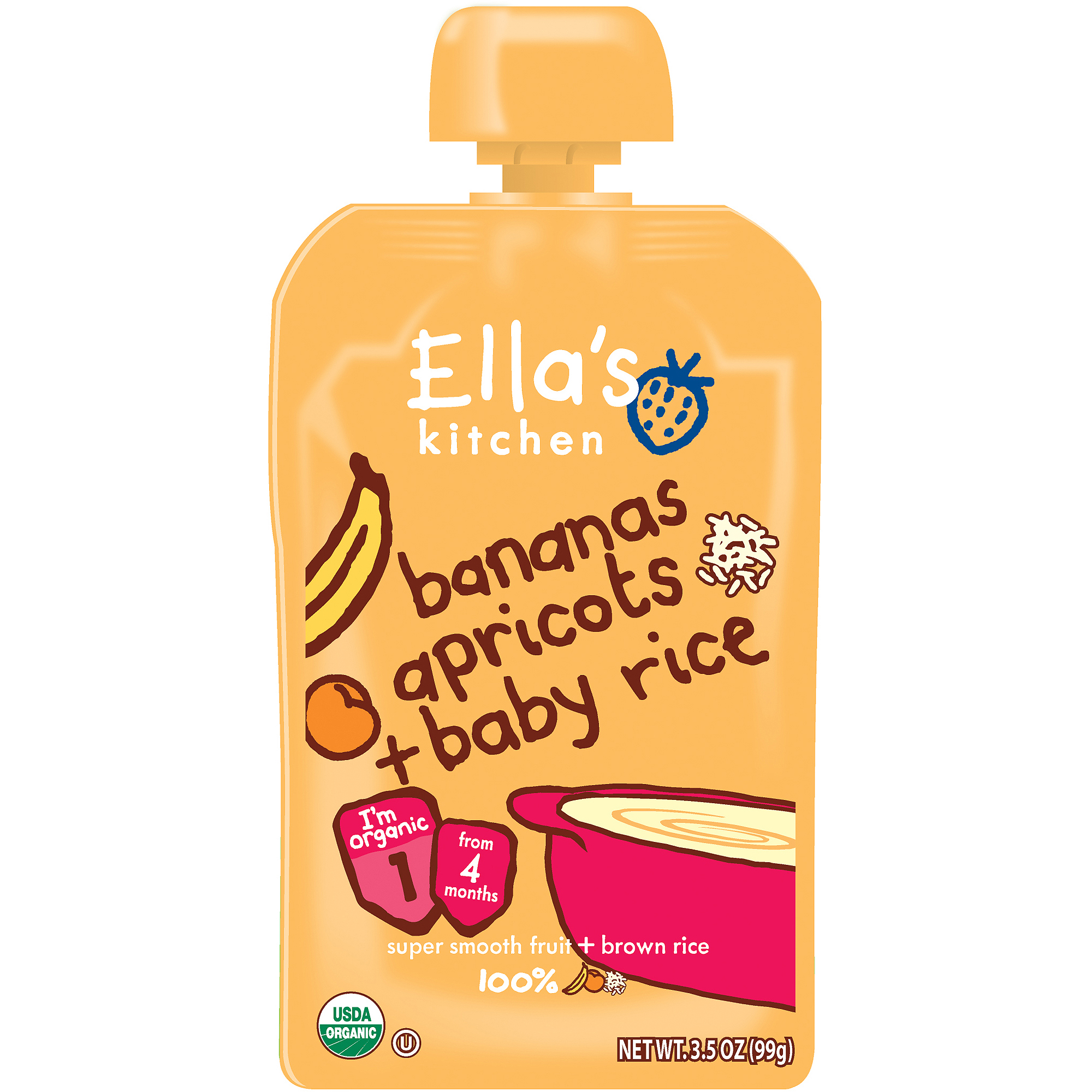 Ella's Kitchen Organic Bananas Apricots + Baby Rice Stage 1 Baby Food, 3.5 oz (Pack of 6)