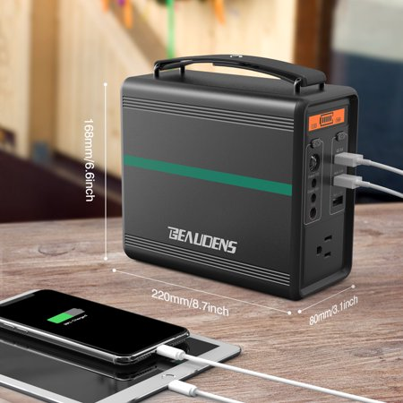 BEAUDENS 166Wh Power Generator,Portable Power Station with 2000 Cycles, Powered by Safer Lithium Iron Phosphate Battery, Supply with 1 AC Port, 2 DC Ports, 3 USB Ports, Flashlight and SOS, Metal