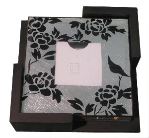 Set of 4 Black and Silver Cutout Picture Photo Drink Coasters with Flower Detailing