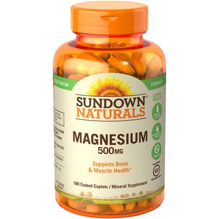 (2 Pack) Sundown Naturals Magnesium Caplets, 500 mg, 180