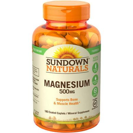 (2 Pack) Sundown Naturals Magnesium Caplets, 500 mg, 180 Ct 100% Natural 500 Tabs