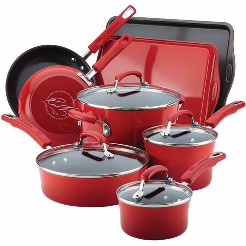 Rachael Ray Hard Enamel Nonstick 12-Piece Cookware Set by Meyer Corporation