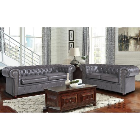 Formal Luxurious Living Room Furniture Gray 2pc Sofa Set Sofa And Loveseat Tufted Cushion Back Rolled Arms Nailhead Leather Air ()