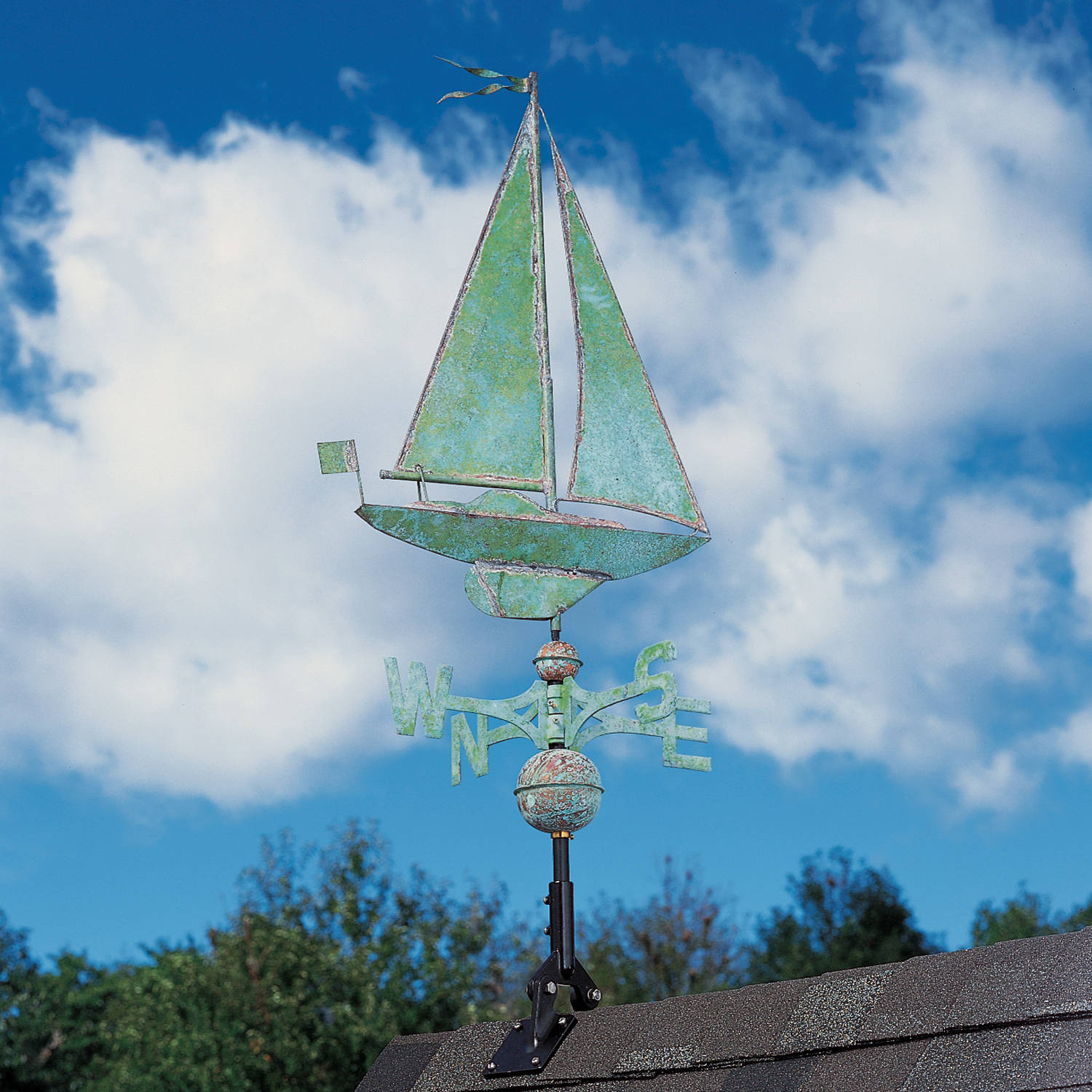 Copper Sailboat Weathervane, Verdigris by
