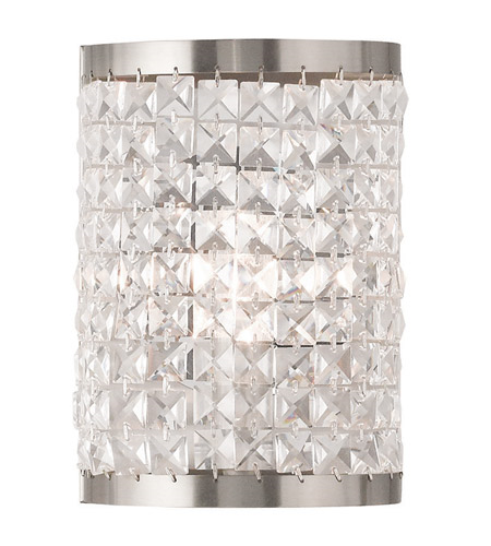 Wall Sconces 1 Light With Clear Crystals Brushed Nickel size 18 in 60 Watts - World of Crystal