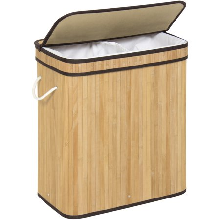 Best Choice Products Bamboo Collapsible Double Sectioned Hamper Laundry Basket with Removable Liner Bag,