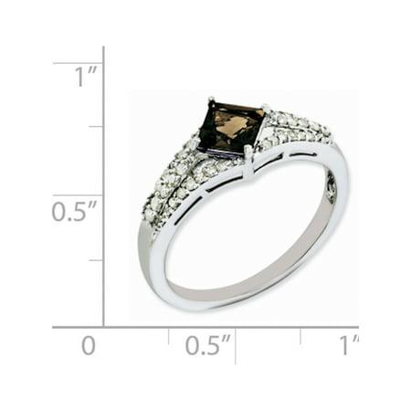 Sterling Silver Rhodium Smoky Quartz & Diamond Ring - image 2 de 2