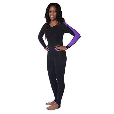 Ivation Womens Wetsuit - Lycra Full Body Diving Suit & Sports Skins for Running, Exercising, Snorkeling, Swimming, Spearfishing & Water Sports - Purple/Black, X Small