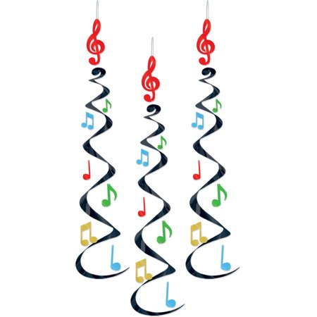 Musical Notes Decorations (Danglers - Musical Notes Whirls 30 inches - Party Decoration - 3 per)