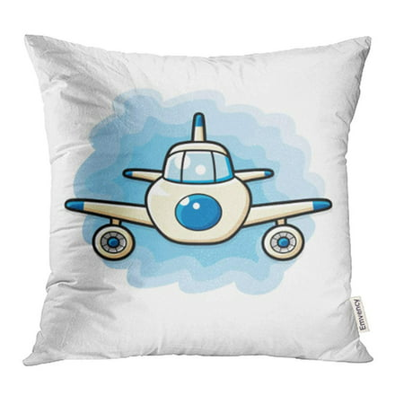 Sky Airlines (USART Blue Cartoon Jet Airplane on Sky Front View Adventure Aero Air Aircraft Airline Pillowcase Cushion Cases 18x18 inch )