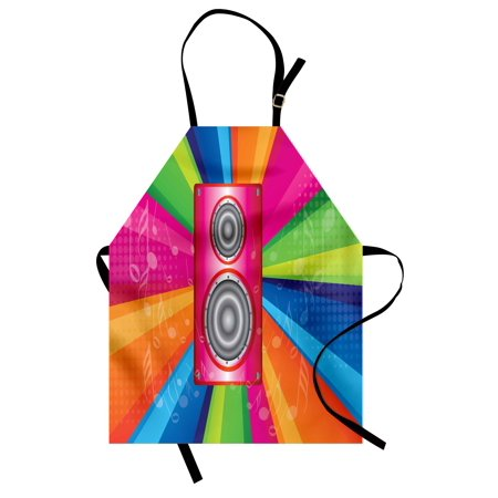 Vintage Rainbow Apron Discotheque Pop Party of the 60s 70s Theme Musical Notes and Pink Stereo, Unisex Kitchen Bib Apron with Adjustable Neck for Cooking Baking Gardening, Multicolor, by Ambesonne (Themes Of The 70s)