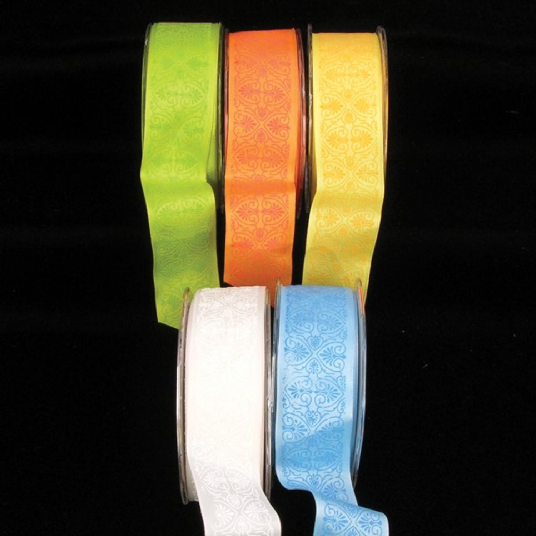 "Orange Cairo Print Taffeta Wired Craft Ribbon 1.5"" x 27 Yards"