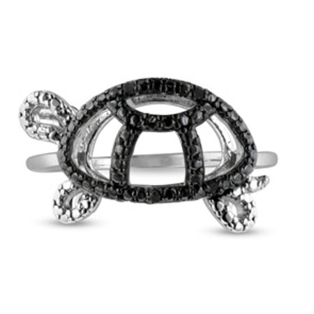 Black Diamond Turtle Ring Crafted In Solid Sterling Silver Size 6