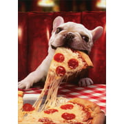 Avanti Press Dog With Cheesy Pizza Slice Funny Bulldog Birthday Card