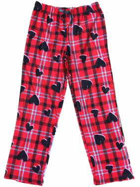 Girls Red Gray Black Tartan Plaid Sleep Pant Hearts & Checker Pajama Bottoms
