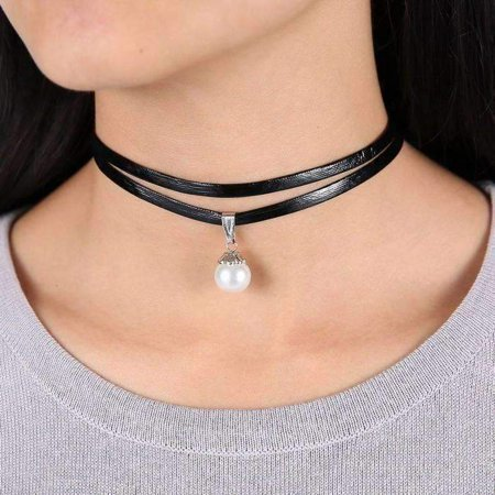 ON SALE - Pearl Bead Solitaire Two Strand Black Leatherette Choker Necklace Black