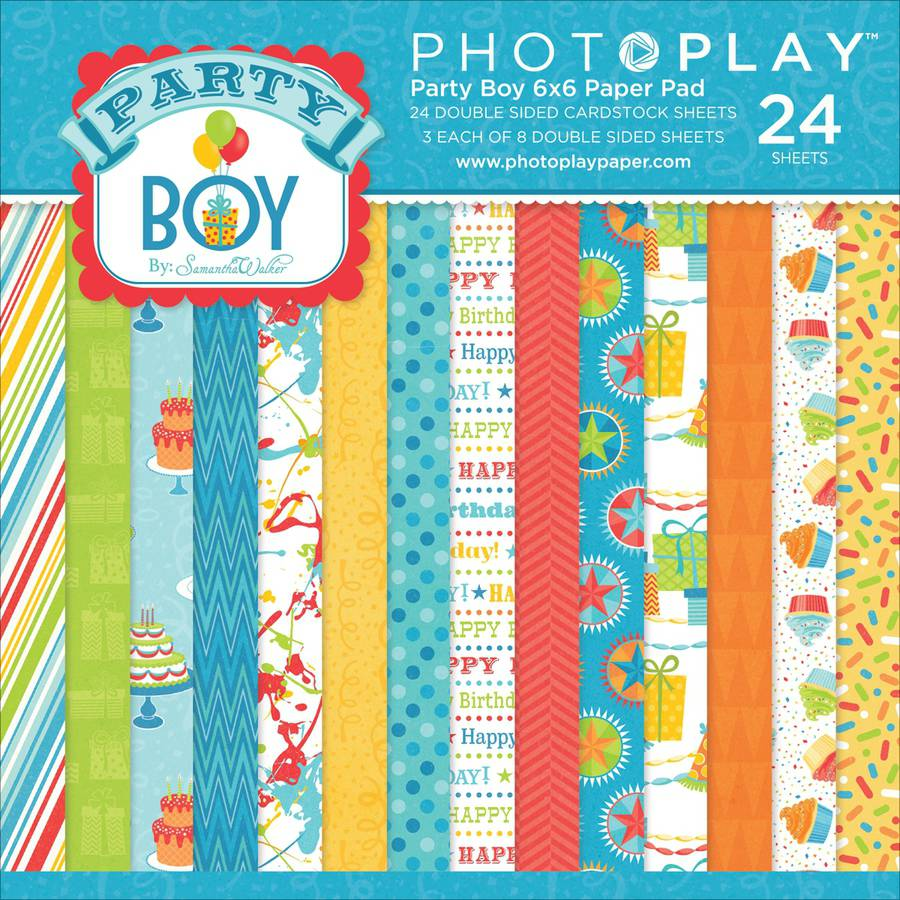 "Photo Play Party Boy Double-Sided Paper Pad 6""X6"" 24/Pkg-8 Designs/3 Ea"