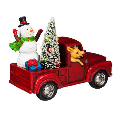 Snowman in a Red Truck LED Décor - Snowman Led