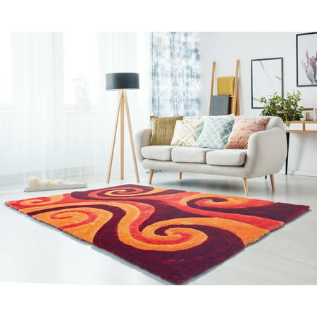 United Weavers Veria Cissa Shag Burnt Orange Hand Carved Polyester Area Rug ()