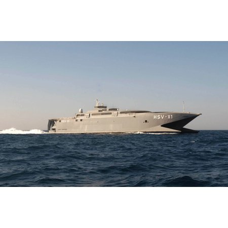 LAMINATED POSTER Joint Venture, High Speed Vessel Experimental One (HSV X1) transports various different warfare grou Poster Print 24 x
