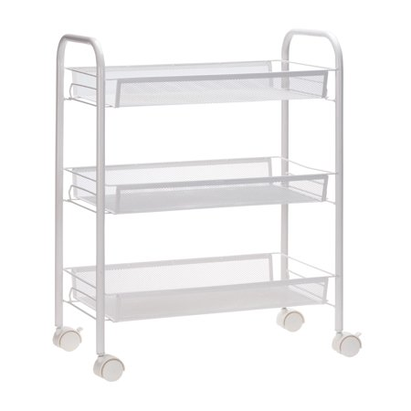 3 Tier Mesh Wire Rolling Cart - Rolling Basket Stand - Kitchen and Bathroom Organization Storage - White ()