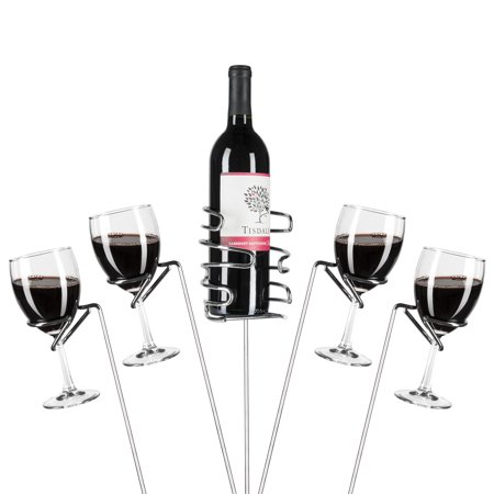 Best Choice Products Set of 5 Reinforced Stainless Steel Wine Glass Rack Holder Stakes for Bottles, Candles, Hands-Free Outdoor Picnics, and Travel, (Best Italian Wine Brands)