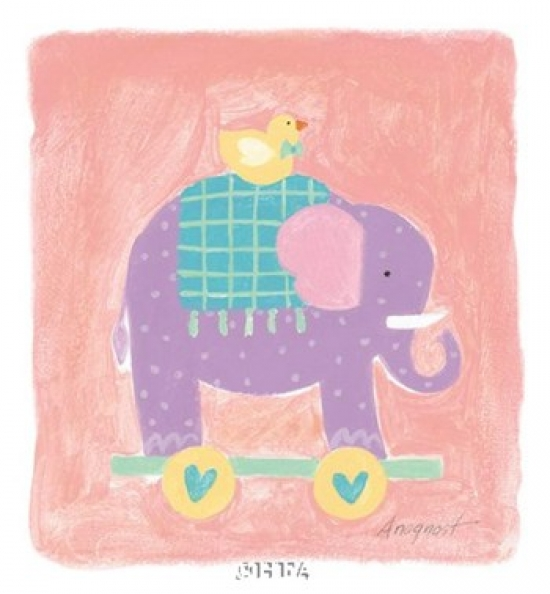 Elephant Toy Poster Print by Karen Anagnost (7 x 8)