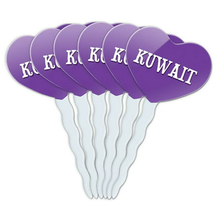 Kuwait Heart Love Cupcake Picks Toppers - Set of 6