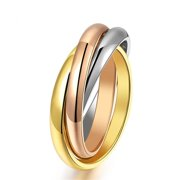 ES Jewel GJ005N5 3 In 1 Stainless Steel Ring - Rose Gold Plating, Size 5, Unisex