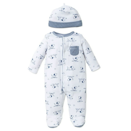 74a38e5944aa Puppy Toile Snap Front Footie Pajamas with Hat For Baby Boys Sleep N Play  One Piece Romper Coverall Cotton Infant Footed Sleeper  Pijamas Para Bebes-  White ...