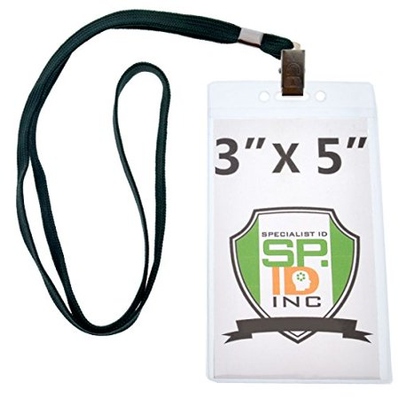 10 Pack - Large 3x5 Inch Large Clear Vertical Badge and Credential Holders with Lanyards for VIP Badges by Specialist ID (Forest Green)
