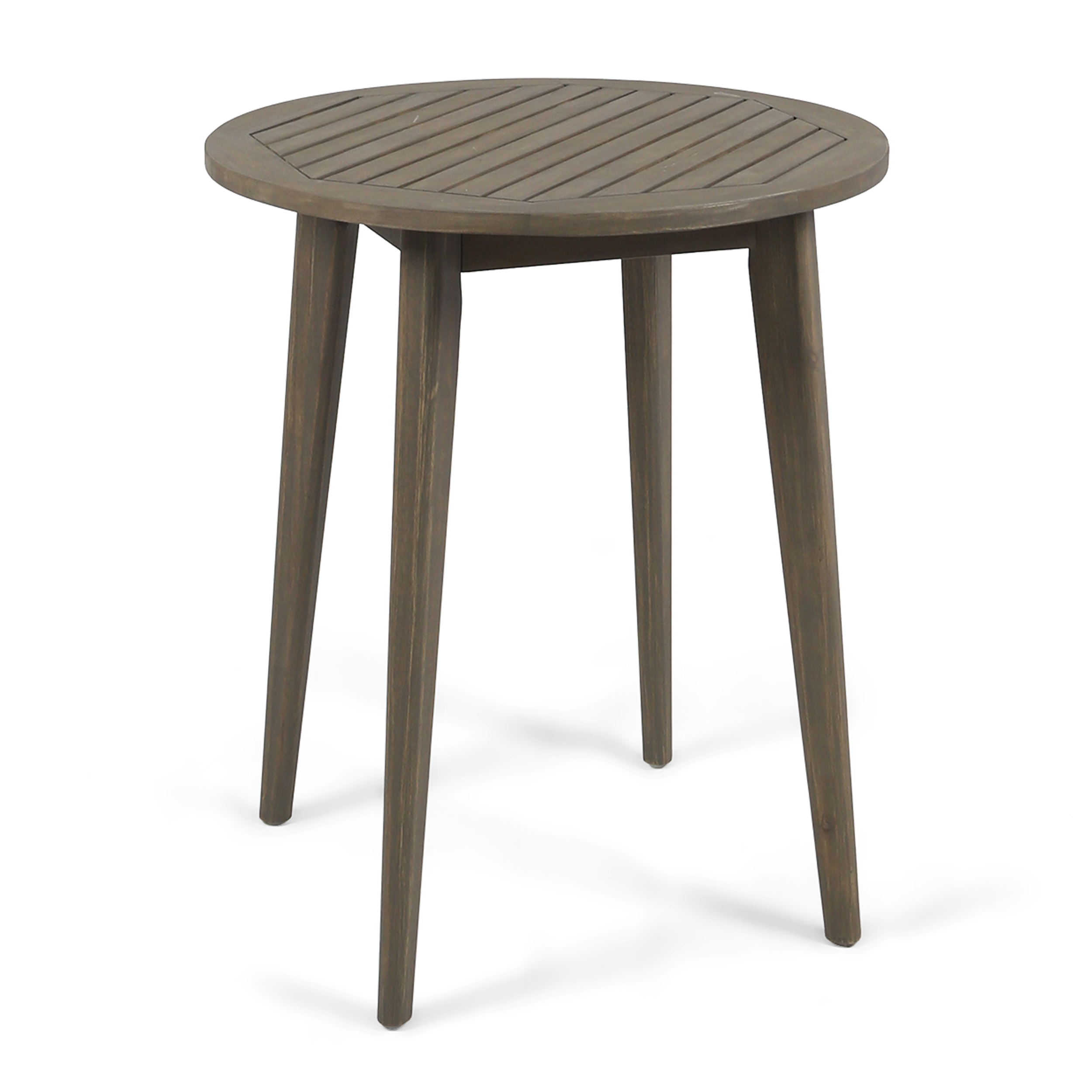 Fitch Outdoor Round Acacia Wood Bistro Table, Grey