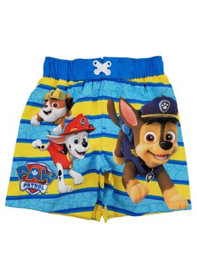 10e6725090 Product Image Paw Patrol Nickelodeon Toddler Boys Blue & Yellow Striped Swim  Trunks