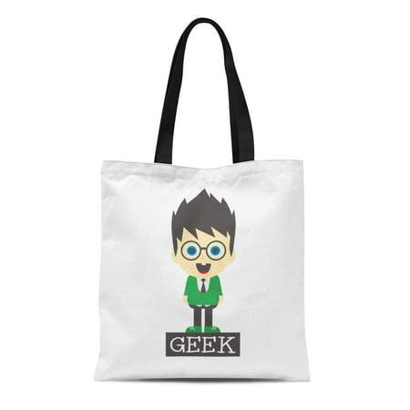 Blonde Storybook Characters (ASHLEIGH Canvas Tote Bag Adult Geeky Nerd Geek Boy Cartoon Character Blonde Brunette Durable Reusable Shopping Shoulder Grocery)