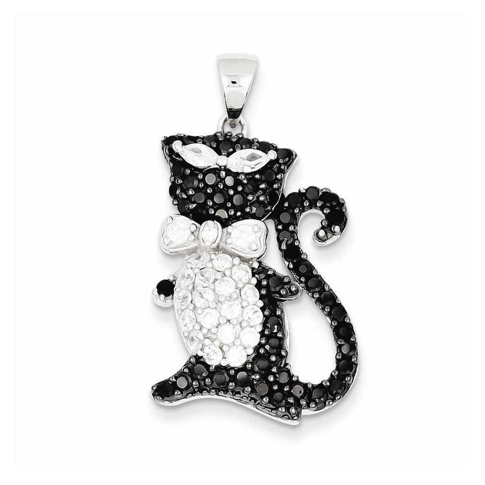 Sterling Silver Black & White CZ Cool Cat Pendant