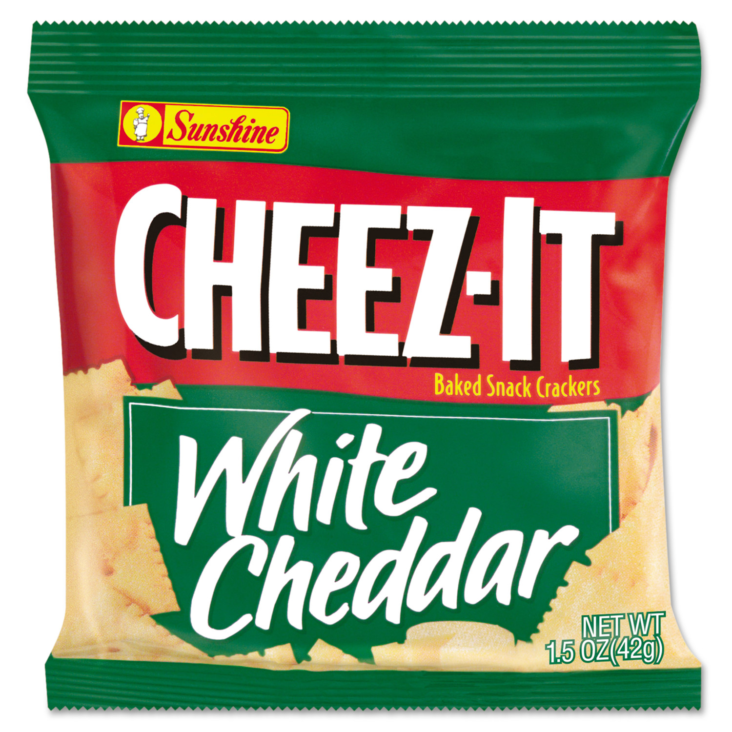 Sunshine Cheez-It Crackers, 1.5oz Single-Serving Snack Bags, White Cheddar, 8/Box