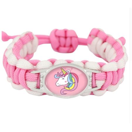 Light Pink White Unicorn Horse Adjustable Girl Survival Paracord Rope Charm Bracelet, J-UC-5 (Survival Charm Bracelet)