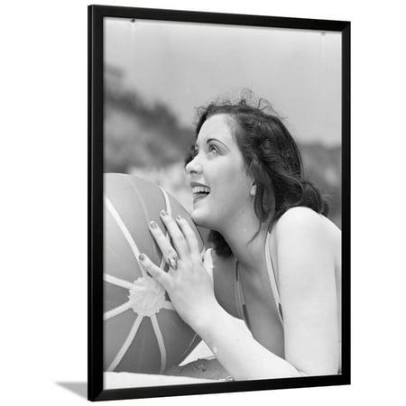 Black And White Beach Ball (Woman Holding a Beach Ball Framed Print Wall Art By Philip)