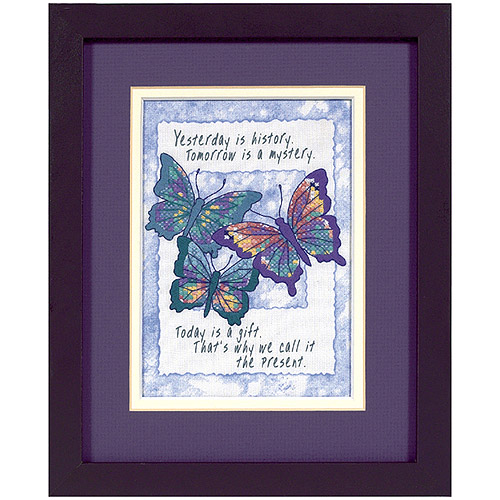 """Dimensions Jiffy """"Today is a Gift"""" Mini Stamped Cross Stitch Kit, 5"""" x 7"""""""