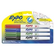 Sanford Expo Dry Erase Markers, Ultra Fine Tip, Assorted Colors, 4 Count