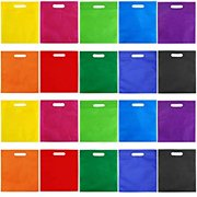 50 Pieces 9.5 by 11.5 Inches Non-Woven Bags Poly Goodie Treat Bag Rainbow Colors Tote Bag Party Gift Handles Bag Party Favors, 10 Colors