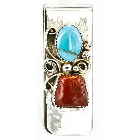 - Handmade Certified Authentic Navajo Nickel and .925 Sterling Silver Natural Turquoise Coral Native American Money Clip