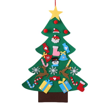 DIY Felt Christmas Tree with 26 Pcs Xmas Ornaments DIY Christmas Tree Wall Hanging Xmas Gifts Christmas Decorations ()