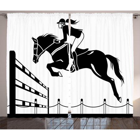 Cartoon Curtains 2 Panels Set  Racing Horse With A Jockey Girl Jumping Above Barrier Barn Farming Image Print  Window Drapes For Living Room Bedroom  108W X 108L Inches  Black And White  By Ambesonne