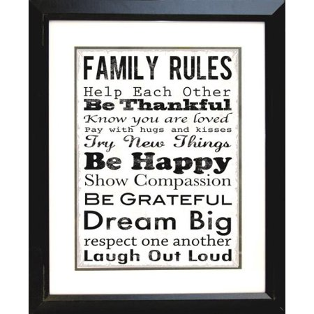 buyartforless IF EBN1052 1.5 Black Plexi Professionally Framed Family Rules Be Thankful Be Happy by Louise Carey 20X16 Art Print Poster Motivational Inspirational Typography Great Art Communication Framed Motivational Print