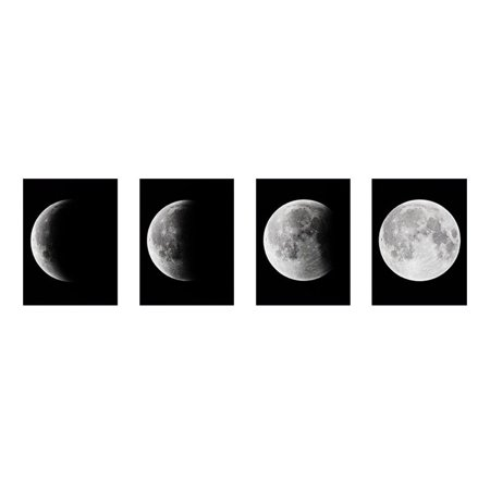 GHP 4-Pieces Modern Moon Phases Wall Art Oil Painting Pictures Frameless Canvas