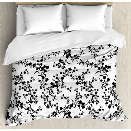 Floral Duvet Cover Set, Victorian Style Curved Flower Baroque Blooms Branches Artistic Vintage Motif, Decorative Bedding Set with Pillow Shams, Black and White, by Ambesonne ()