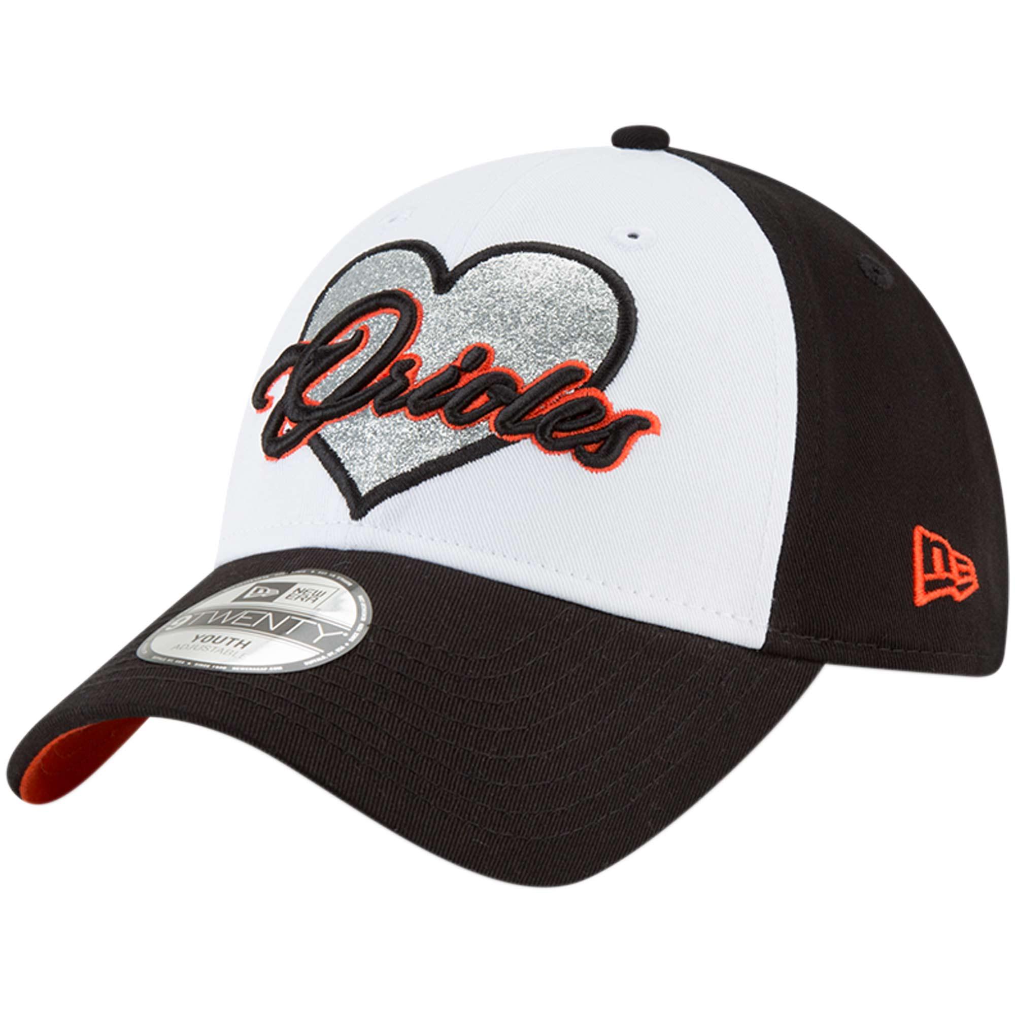 Baltimore Orioles New Era Girls Youth Sparkly Fan 9TWENTY Adjustable Hat - Black - OSFA
