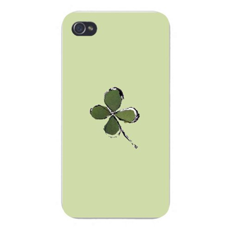 Apple Iphone Custom Case 5 / 5s AND SE White Plastic Snap on - Four Leaf Clover Irish Luck Artwork on (Leaf Primrose Five Light)