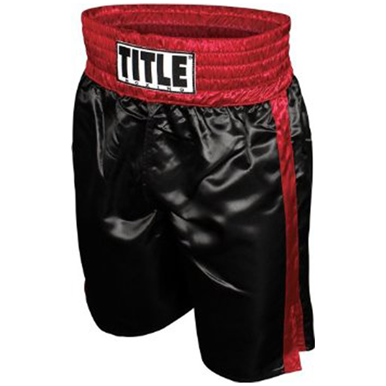 Title Professional Boxing Trunks - Medium - Black/Red